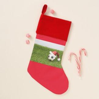 Soccer Christmas with football and Santa Hat Christmas Stocking