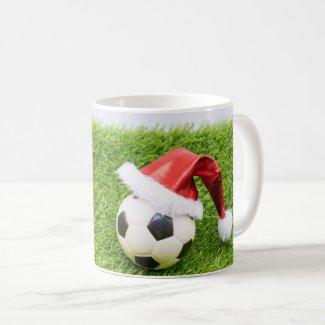 Soccer Christmas with Santa Hat Coffee Mug