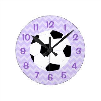 Soccer Clock: Purple Chevron