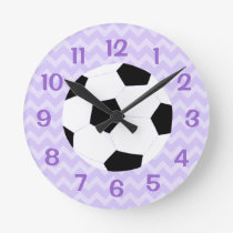 Soccer Clock: Purple Chevron Round Clock