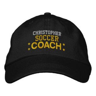 SOCCER COACH Custom Name Black Gold Stars V02 Embroidered Baseball Hat