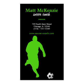 Soccer Coach (Green) Double-Sided Standard Business Cards (Pack Of 100)