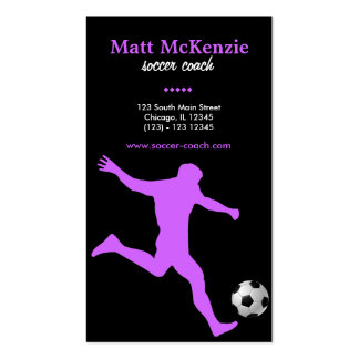 Soccer Coach (Orchid) Business Card Templates