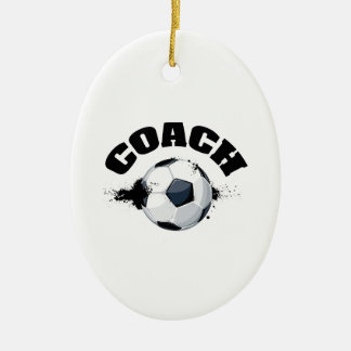 Soccer Coach Double-Sided Oval Ceramic Christmas Ornament