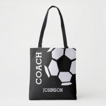 Soccer Coach Personalized Sports Modern Black Tote Bag