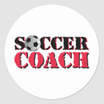 Soccer Coach (red) Classic Round Sticker