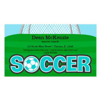 Soccer coach/Soccer player (turquoise) Double-Sided Standard Business Cards (Pack Of 100)