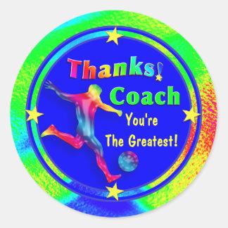 Soccer Coach Thank You Star Sticker