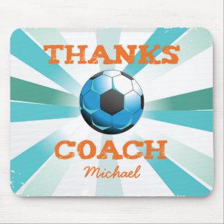 Soccer Coach Thanks, Orange on Teal, Blue Starburs Mouse Pad