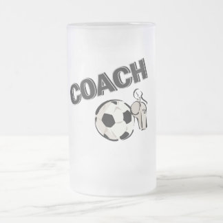 Soccer Coach (Whistle/Ball) 16 Oz Frosted Glass Beer Mug