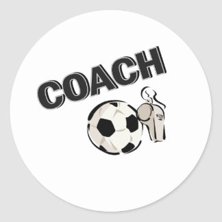 Soccer Coach (Whistle/Ball) Classic Round Sticker