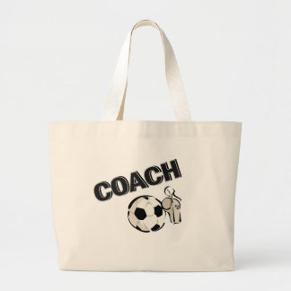 Soccer Coach (Whistle/Ball) Large Tote Bag