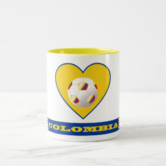 SOCCER COLOMBIA National Team ball and heart Two-Tone Coffee Mug