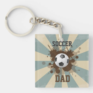 Soccer Dad Retro Design Keychain