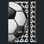 """Soccer Design iPad Air Case<br><div class=""""desc"""">Soccer Design iPad Air Case with customizable text.  For no text,  delete sample text and leave blank.</div>"""