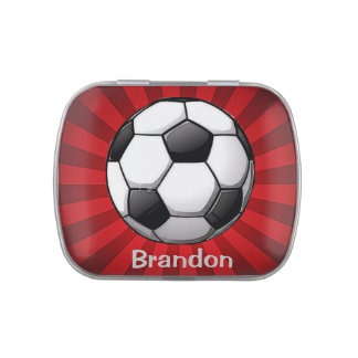 Soccer Design Party Favor Candy Container Jelly Belly Tins