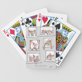 soccer dogs match day reds bicycle playing cards
