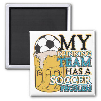 Soccer Drinking Team 2 Inch Square Magnet