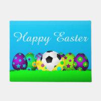 Soccer Easter Egg Row Doormat