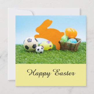 Soccer Easter holiday with rabbit and egg basket Card