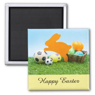 Soccer Easter holiday with rabbit and egg basket Magnet