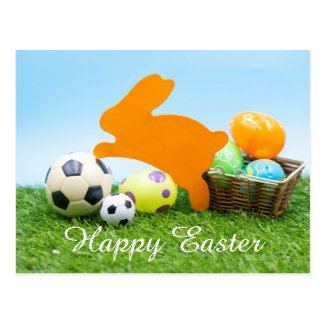 Soccer Easter holiday with rabbit and egg basket Postcard