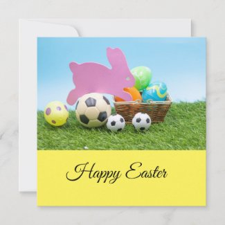 Soccer Easter with bunny rabbit for Easter Holiday Card