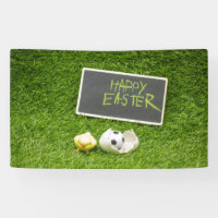Soccer Easter with foot ball and egg shell Banner