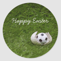 Soccer Easter with foot ball and egg shell Classic Round Sticker
