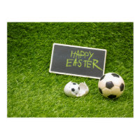 Soccer Easter with foot ball and egg shell Postcard