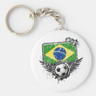 Soccer fan Brazil Basic Round Button Keychain