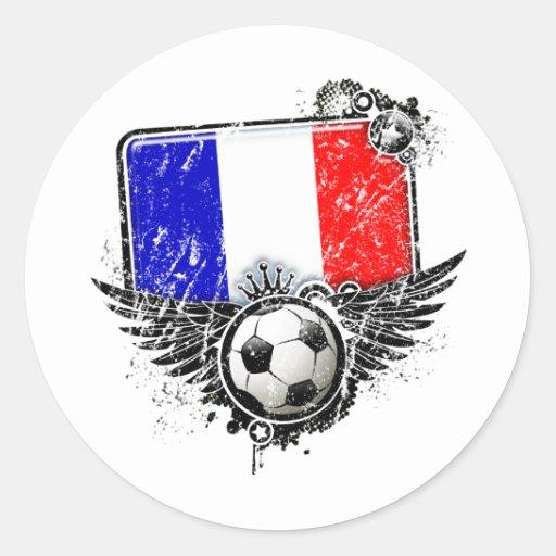 Soccer fan France Round Stickers
