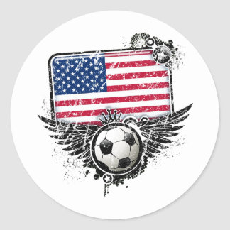 Soccer fans USA Classic Round Sticker