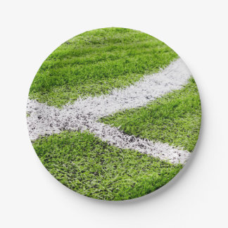Soccer field lines 7 inch paper plate