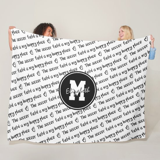 soccer field my happy place black white ANY color Fleece Blanket
