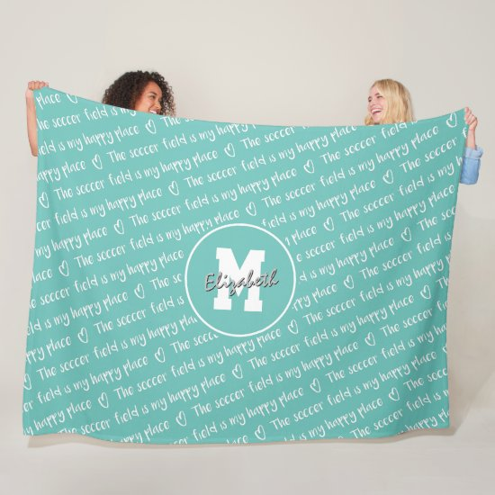 soccer field my happy place teal white ANY color Fleece Blanket