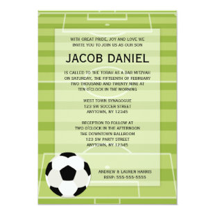 Soccer Field Themed Bar Mitzvah Invitations
