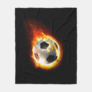 Soccer Fire Ball Fleece Blanket
