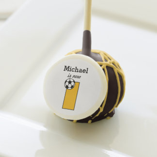 Soccer First Birthday in Yellow Custom Name Cake Pops