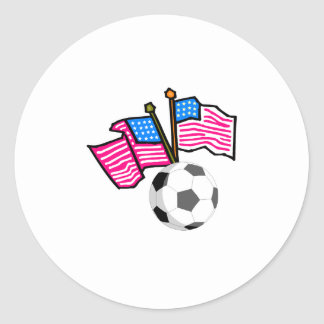 Soccer Flags Round Stickers