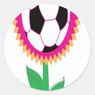 Soccer flower design classic round sticker