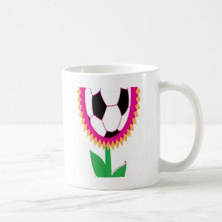 Soccer flower design coffee mug