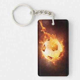 Soccer, Football, Ball under Fire Keychain