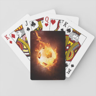 Soccer, Football, Ball under Fire Playing Cards