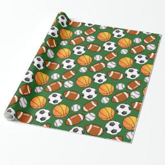 Soccer Football Baseball basketball Sports theme Wrapping Paper