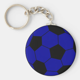 Soccer football blue and black basic round button keychain