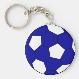Soccer football blue and white basic round button keychain