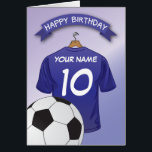 """Soccer Football Blue Shirt Custom Sports Birthday Card<br><div class=""""desc"""">Personalized kids soccer happy birthday cards with a light blue faded background and a royal blue soccer/football shirt which you can personalise with the childs name and age, and a ball at the bottom. This football happy birthday card will impress the birthday kid be it your son/daughter, nephew/niece, grandson/grandaughter or...</div>"""
