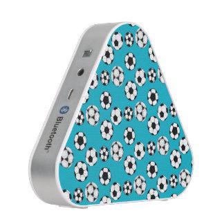 Soccer football blue white pattern bluetooth speaker