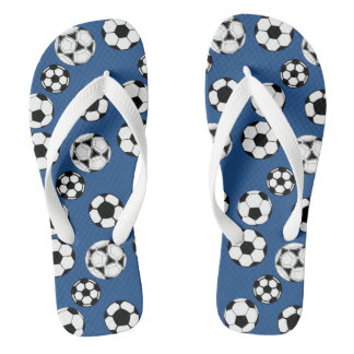Soccer football blues flip flops